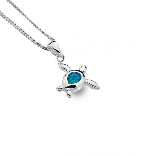 Sterling Silver Turtle Pendant with Synthetic Opal