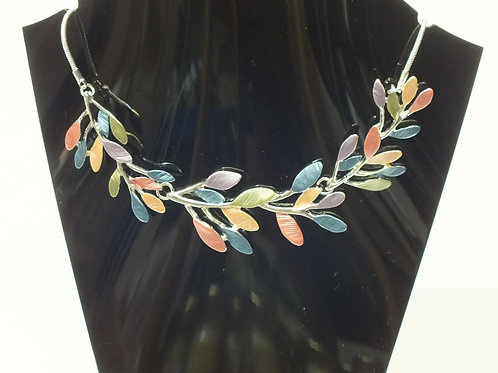 Multi Coloured Leaves Necklace with Rhodium Plating