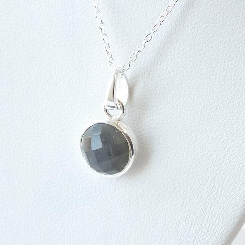 "Semi Precious Stone Necklace 16-18"" SS Chain -Sep -Labradotite/Apatite"