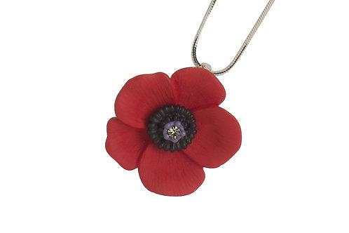 Medium 5 petal Poppy Sparkly Necklace