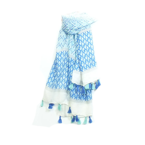 Scarf Baroque Print with Tassels in Blue