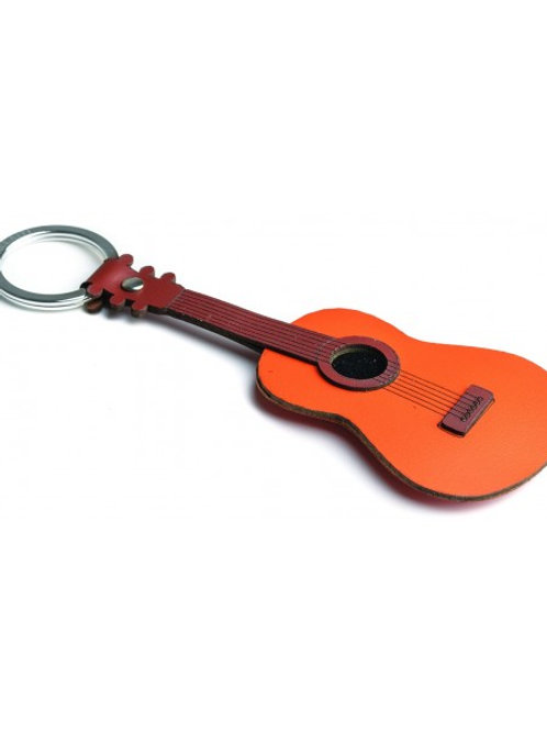 Acoustic Guitar Leather Keyring