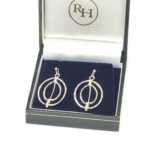 Rhodium Solar System Drop Pierced Earrings