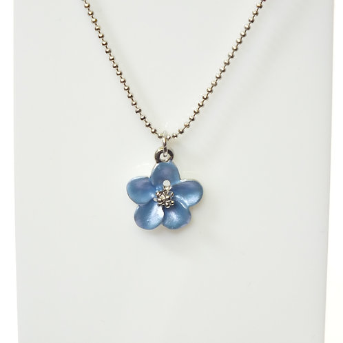 Baby Blue Flower Necklace with Rhodium plated detail