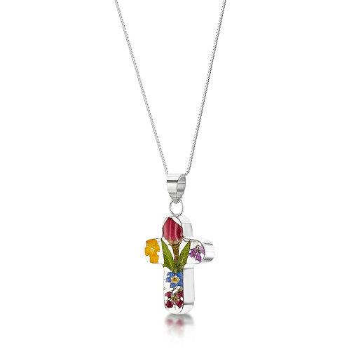 Silver Pendant - Mixed/Rose - Cross