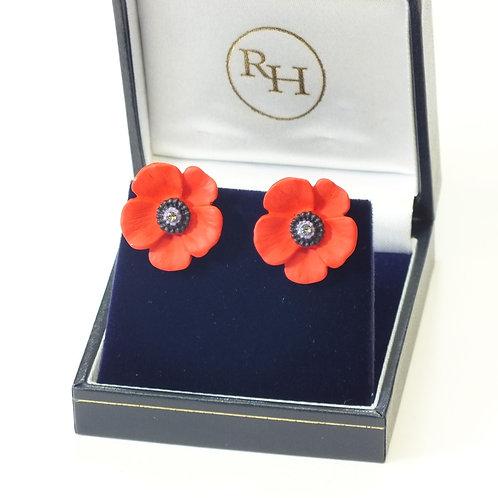 Poppy, 5 Petal Medium Clip on Earrings, Rhodium