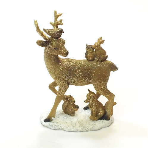 Resin Stag with Animals Ornament - Small