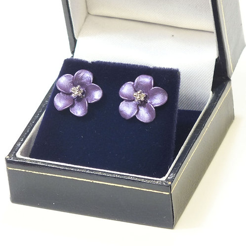 Lilac Flower Pierced Earrings