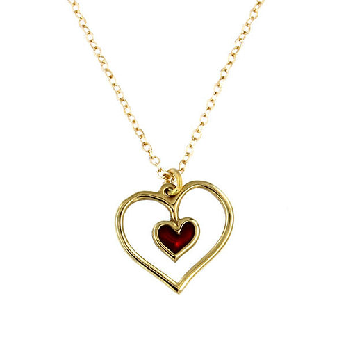 """Red Heart Pendant on 18"""" Gold Plated Chain"""