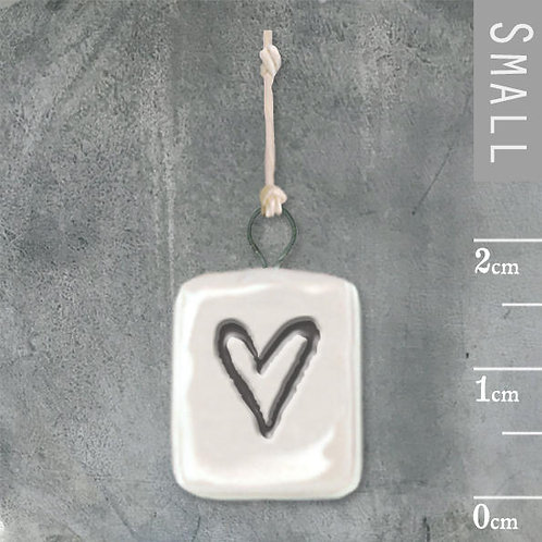 Porcelain-Mini Heart With Wire