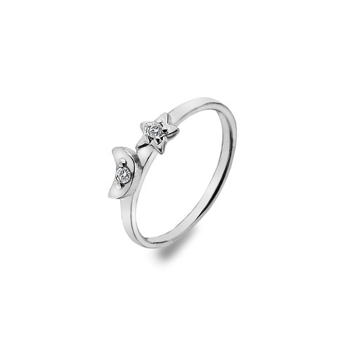 Stirling Silver Ring - Moon+Star+Czs