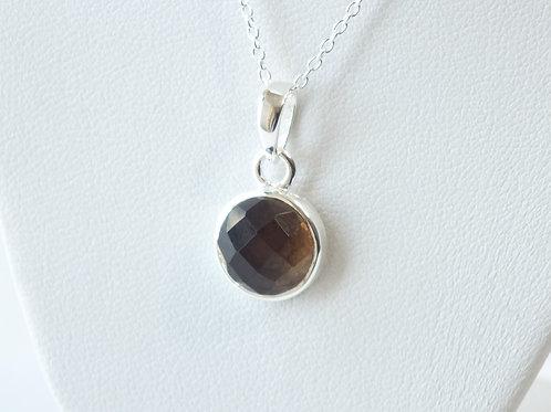 """Semi Precious Stone Necklace 16-18"""" SS Chain - Oct -Rose Quartz/Smoky Quartz"""