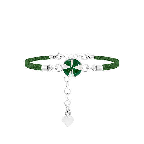 Fashion Bracelet - Green Strap - Four-leaf Clover