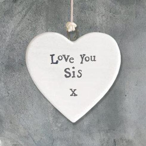 Porcelain heart-Love You Sis
