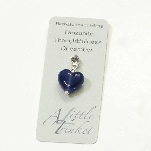 Birthstones in Glass - Cora Heart Clip on Charms Tanzanite - December