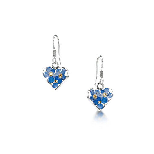 Silver drop Earrings - Forget-me-not - Heart