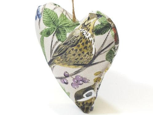 Garden Birds Cotton Lavender Filled Heart Decoration