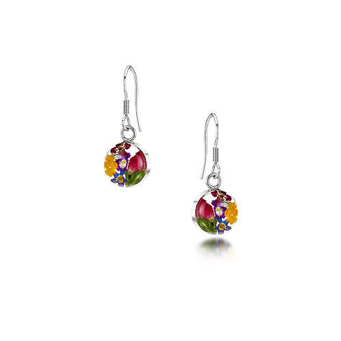 Silver Drop Earrings - Mixed Flowers + Yellow - Small Round