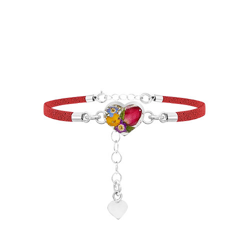Fashion Bracelet - Red Strap - Mixed flowers - Heart
