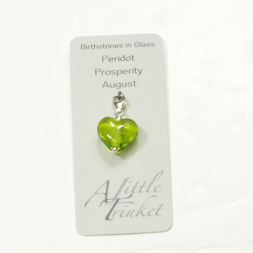 Birthstones in Glass - Cora Heart Clip on Charms Peridot - August