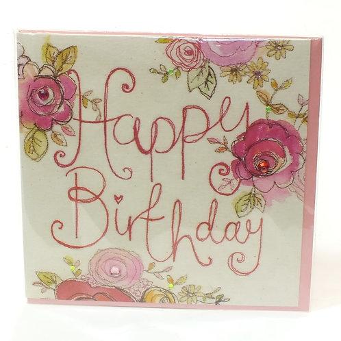 Happy Birthday Roses - Broderie