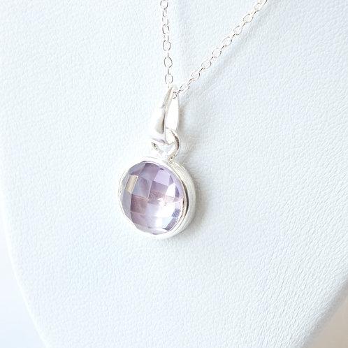 """Semi Precious Stone Necklace 16-18"""" S.S Chain - Feb - Amethyst African/Brazilian"""