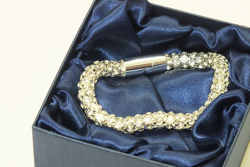 Sparkly Tube Bracelet with CZ's and Rhodium Plated