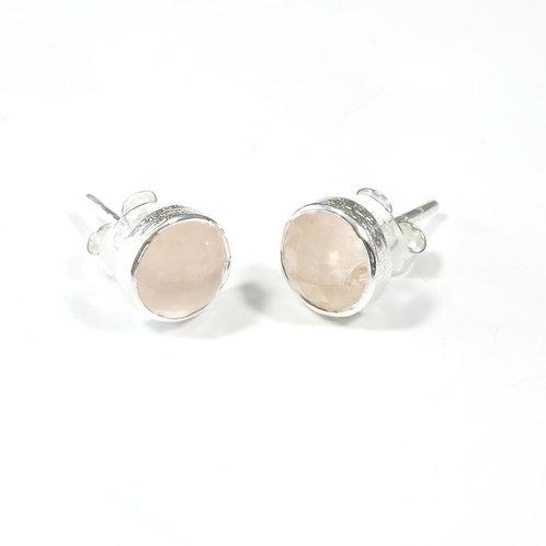 Semi Precious Stone Stud Earrings SS - Oct -Rose Quartz/Smoky Quartz