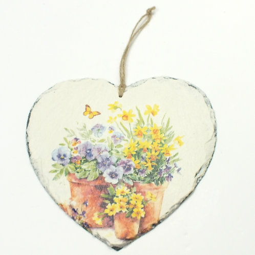 Daffodills and Flowers in pots, Heart