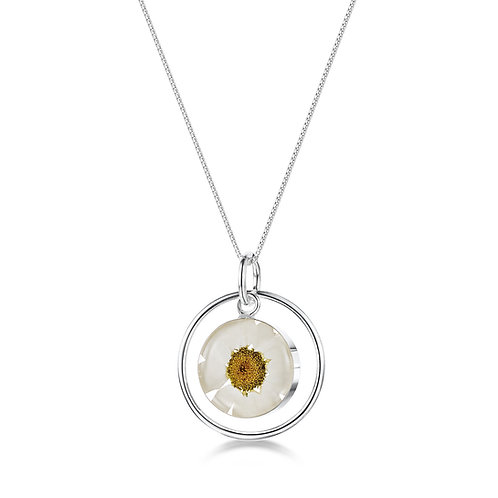 Silver Pendant - Daisy White - with Silver Round Surround