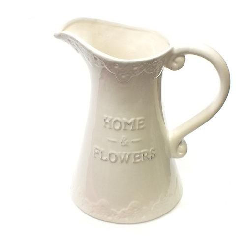 Glazed Ceramic Jug - Home & Flowers