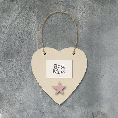 Cream Heart & Star - Best Mum