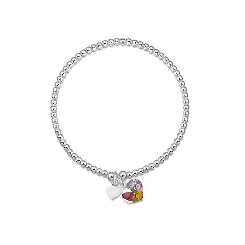 Silver Bead Bracelet - Single strand - Mixed