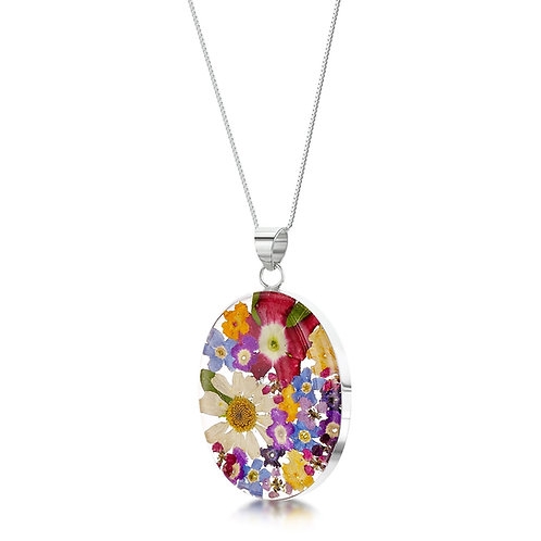 Silver Pendant - Mixed flower - Oval