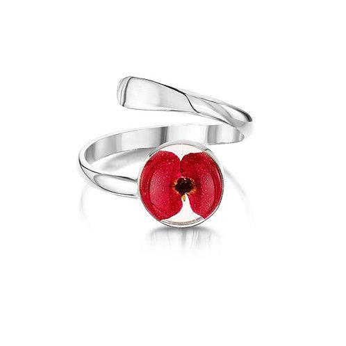 Sterling Silver Poppy Ring (Adjustable)