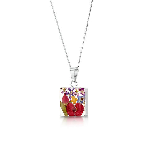 Silver Pendant- Mixed Flowers-Med Square