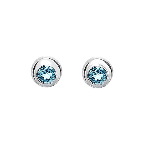 Sterling Silver Stud Earrings with Topaz
