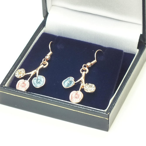 Rose Gold Plated Flower Drop Earrings with CZ's