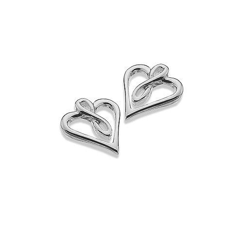 Sterling silver Stud Earrings  - Infinity Heart