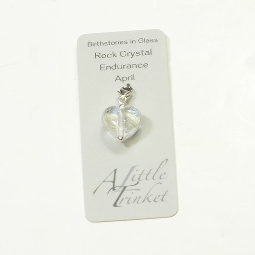 Birthstones in Glass - Cora Heart Clip on Charms Rock Crystal - April
