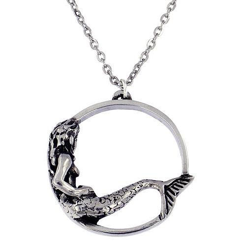"Mermaid Hoop Pendant -18"" Trace Chain"