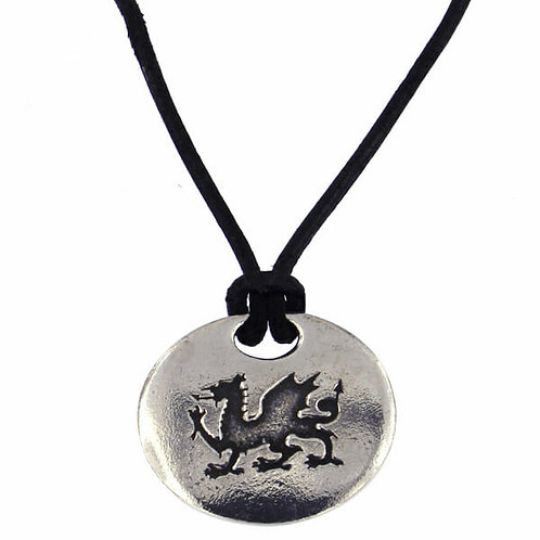 Welsh Dragon Pendant On Leather Thong