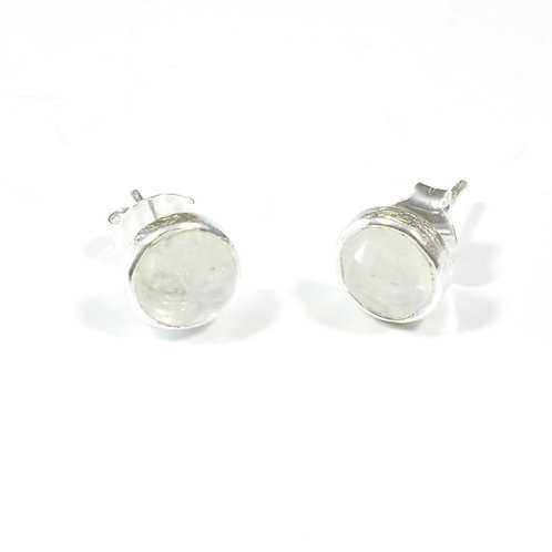 Semi Precious Stone Stud Earrings SS - Apr-Sapphire/Rainbow Moonstone