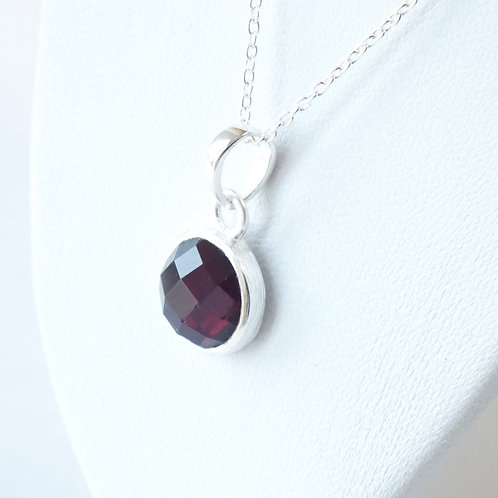 "Semi Precious Stone Necklace 16-18"" S.S Chain - Jan - Garnet"