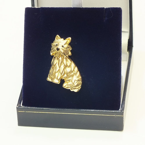 Cheeky Gold Plated Dog  Brooch