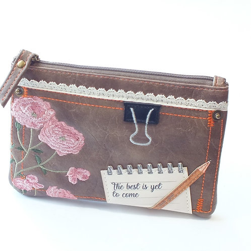 Scrapbook Vintage Stationary Zipper Coin Purse