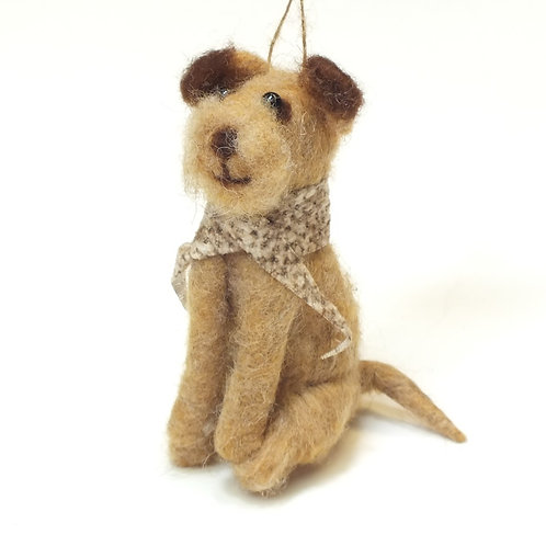 Wool Mix Sitting Dog with Scarf Decoration