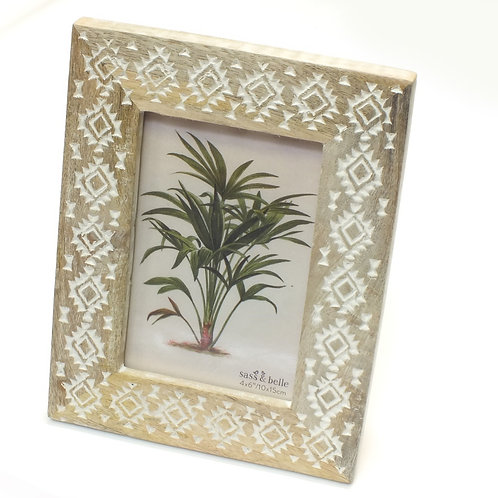 Wooden Tribal Diamond Photo Frame