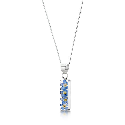 Silver Pendant - Forget-me-not - Rectangle
