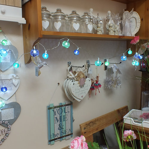 Battery operated Turquoise Lights